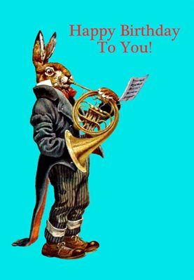 Happy Birthday Hare. Superb Vintage Illustration Greeting Card.