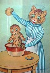 Baby's Bath. Adorable Louis Wain Illustration Greeting Card. Perfect for New Baby.