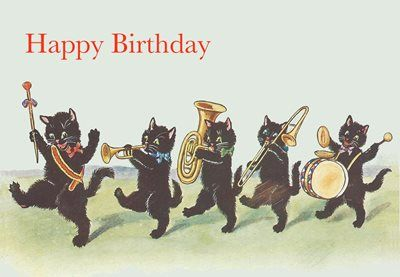 The Birthday Brass Band. Vintage Black Cat Illustration Birthday Card.