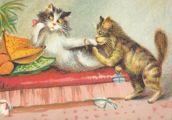 £1 Card!!! 'Love Makes the World Go Round' Vintage Cat Illustration Greeting Card. Perfect for Valentines Day.