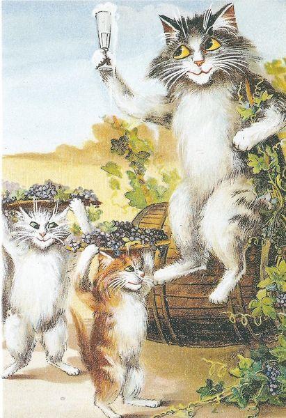 'A Toast' Vintage Cat Illustration Greeting Card.