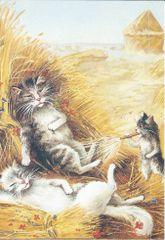 £1 Card!!! 'Lazy Days' Vintage Cat Illustration Greeting Card.