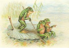 £1 Card!!! 'The Gondolier' Vintage Frog Illustration Greeting Card.