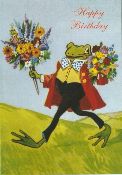 'Happy Birthday Frog' Vintage Illustration Greeting Card.