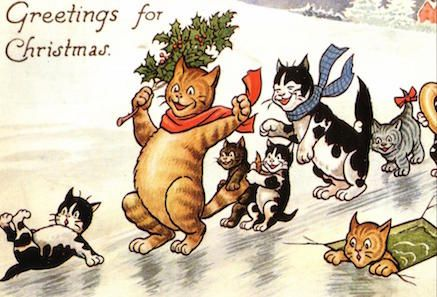 'Greetings For Christmas' Fantastic Vintage Cat Card Repro. Lots of Fun!