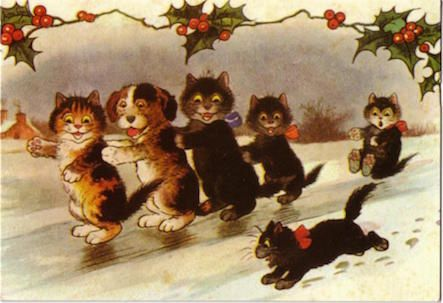 'Sliding at Christmas' Vintage Cat Card Repro.