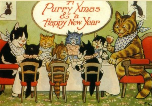 'The Cats' Christmas Dinner' Vintage Cat Christmas Card Repro.