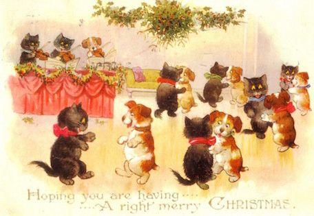 £1 Christmas Card!!! 'The Christmas Dance' Vintage Animal Card Repro.