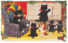 £1 Christmas Card!!! 'A Cosy Christmas' Vintage Black Cat Card Repro.