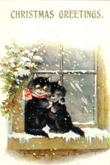 £1 Christmas Card!!! 'A Christmas Cuddle' Vintage Black Cat Card Repro.
