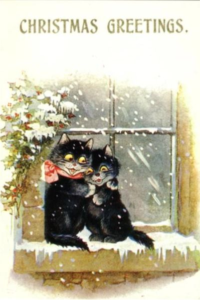 'A Christmas Cuddle' Vintage Black Cat Christmas Card Repro.