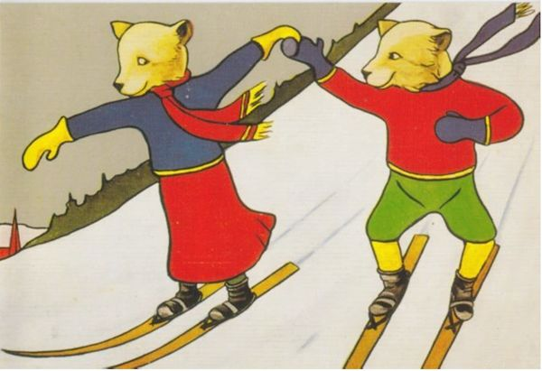 Pack of 5 'The Skiers' Vintage Christmas Card Repro of 2 Bears Skiing.