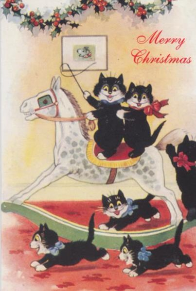 £1 Christmas Card!!! 'The Rocking Horse' Vintage Black Cat Card Repro.