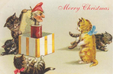 £1 Christmas Card!!! 'A Christmas Surprise' Vintage Cat Card Repro. Jack in the Box.