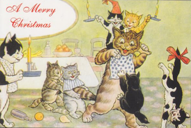 £1 Christmas Card!!! 'Fun at Christmas Time' Vintage Cat Card Repro.