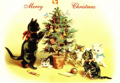 £1 Christmas Card!!! 'The Last Decoration' Vintage Cat Card Repro. Christmas Tree.
