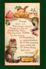 £1 Christmas Card!!! 'Christmas Goodies' Vintage Cat Card Repro.