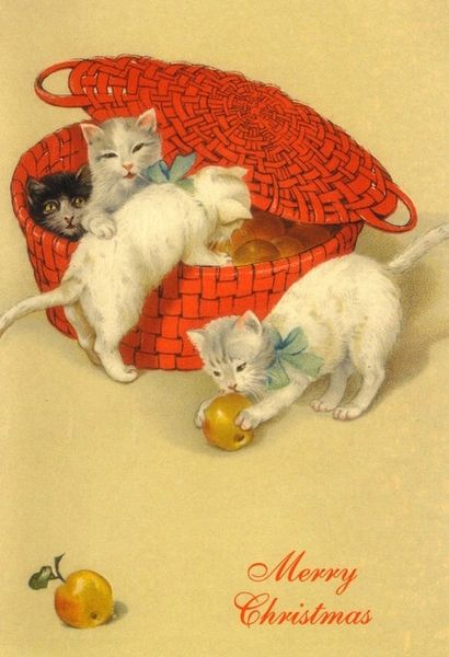 Pack of 10 The Red Basket Vintage White Cat Christmas Card Repro.