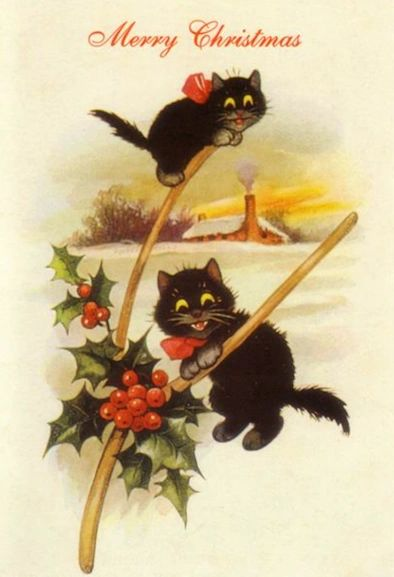 'The Climbers' Vintage Black Cat Christmas Card Repro.