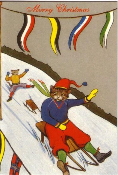 £1 Christmas Card!!! 'A Christmas Race' Vintage Cat Card Repro.