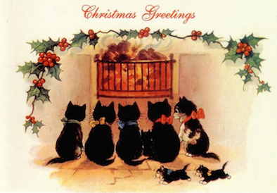 'A Warm and Merry Christmas' Vintage Black Cat Card Repro.