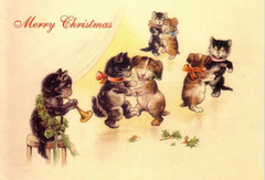 £1 Christmas Card!!! 'The Christmas Dance' Vintage Black Cat Card Repro.
