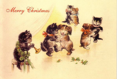 'The Christmas Dance' Vintage Black Cat Christmas Card Repro. Dancing with Dogs.