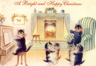 Pack of 10. 'A Bright and Merry Christmas' Vintage Black Cat Card Repro.