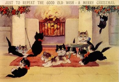 Pack of 10. 'A Good Old Wish' Vintage Black Cat Christmas Card Repro.