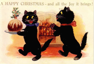Pack of 10. 'The Christmas Pudding' Vintage Black Cat Christmas Card Repro.