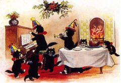 £1 Christmas Card!!! 'Christmas Afternoon' Vintage Black Cat Card Repro. Party at the Piano!