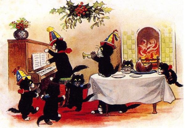 Pack of 10 'Christmas Afternoon' Vintage Black Cat Card Repro. Party at the Piano!