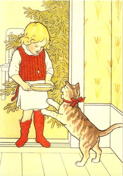 Pack of 10 'Milk For Christmas' Vintage Cat Card Repro.