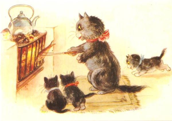 Pack of 10 'The Christmas Dinner' Vintage Black Cat Christmas Card Repro.
