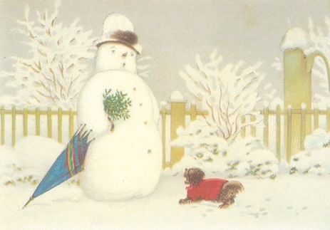 'Who Are You?' Vintage Dog and Snowman Christmas Card Repro.