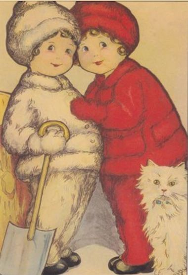 Pack of 10 'The Twins are Fluffy' Vintage Christmas Card Repro.