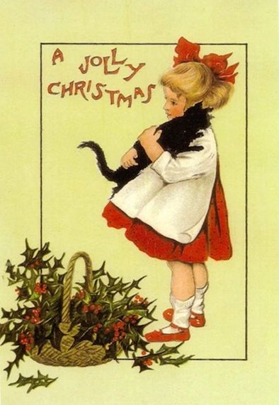 'A Hug For Christmas' Victorian Black Cat Card Repro.