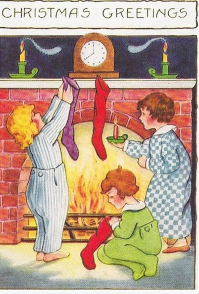 'Getting Ready For Santa' Vintage Christmas Card Repro of Children Hanging up their Stockings.