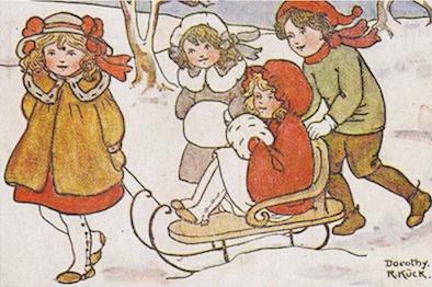 'Sledding Friends' Vintage Christmas Card Repro.