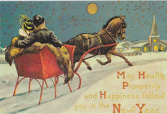 £1 Christmas Card!!! 'Sleighride Home' Vintage Christmas Card Repro.