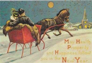 £1 Christmas Card!!! 'Sleighride Home' Vintage Christmas Card Repro.