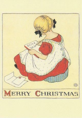 £1 Christmas Card!!! 'Dear Santa' Vintage Christmas Card Repro.