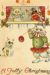 A Jolly Christmas! Victorian Cat and Dog Illustration Christmas Card