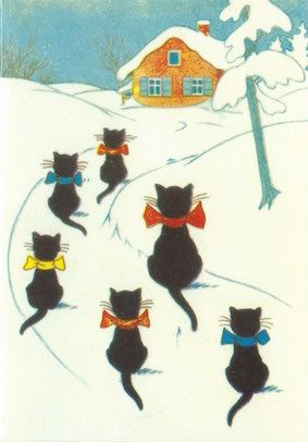 Coming Home for Christmas! Vintage Black Cat Illustration Christmas Card