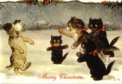The Snowball. Vintage Cat & Dog Illustration Christmas Card