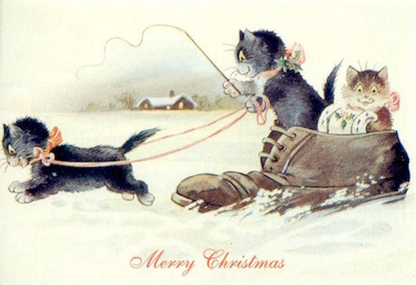 We're On Our Way! Vintage Cat Illustration Christmas Card.