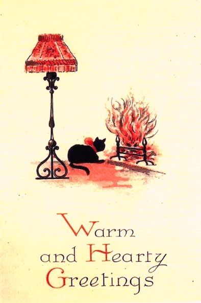 Warm and Hearty Greetings! Vintage Black Cat Illustration Christmas Card.