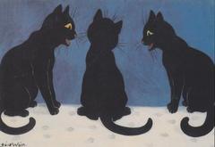Christmas Gossip! Louis Wain Black Cat Illustration Christmas Card.