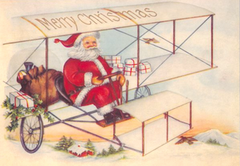 The Flying Santa. Vintage Illustration Christmas Card.