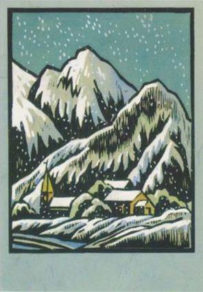 Silent Night. Vintage Woodcut Print Illustration Christmas Card.